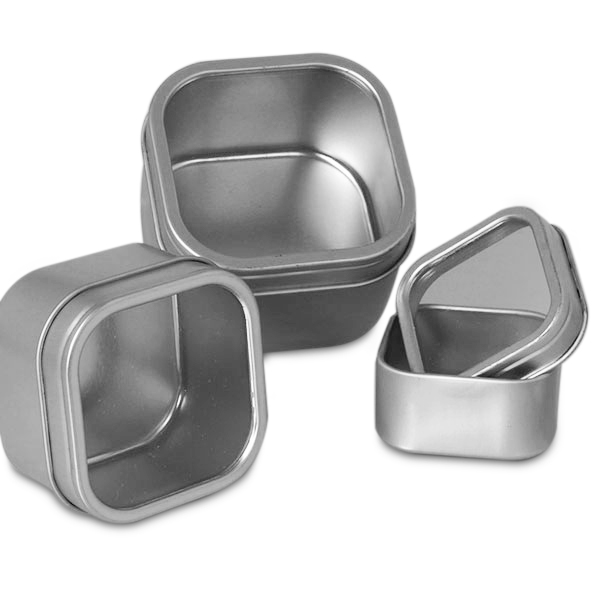 "24ea - 12 Oz Square Window Steel Tin Can - Pkg | Width: 3 1/2"" by Paper Mart"