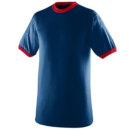 Augusta Sportswear Men's Ringer T-Shirt, Navy/ Red, XX-Large (Mens Sportswear Clothing)