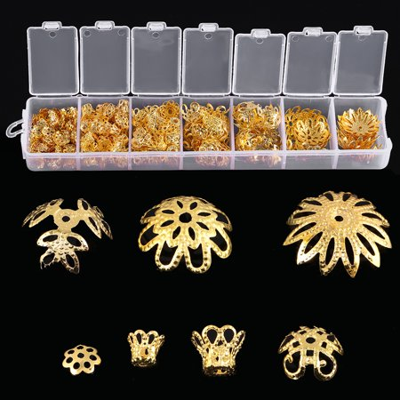 Ejoyous 2Colors 300pcs 7 Sized Flower-Shaped Spacer Bead Cap Jewelry Making Findings Metal Accessories , Flower Spacer Cap, Flower Jewelry Findings