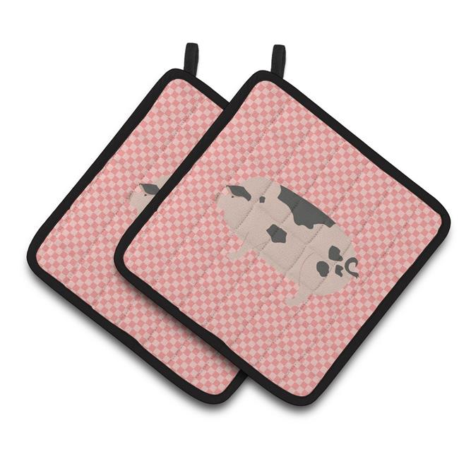 Carolines Treasures BB7940PTHD Gloucester Old Spot Pig Pink Check Pair of Pot Holders - image 1 de 1