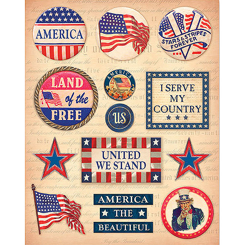 K & Company Military Clearly Yours Stickers, Patriotic Sayings