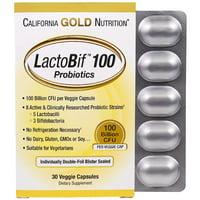 , LactoBif Probiotics, 100 Billion CFU, 30 Veggie Caps, Milk-Free, Egg-Free, Fish Free, Gluten-Free, Peanut Free, Treenut Free, Shellfish Free, Soy-Free,.., By California Gold Nutrition