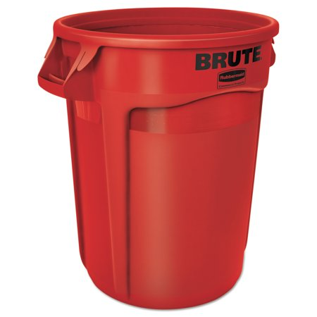 Rubbermaid Commercial Round Brute Container, Plastic, 32 gal, Red (Rubbermaid 32 Brute)