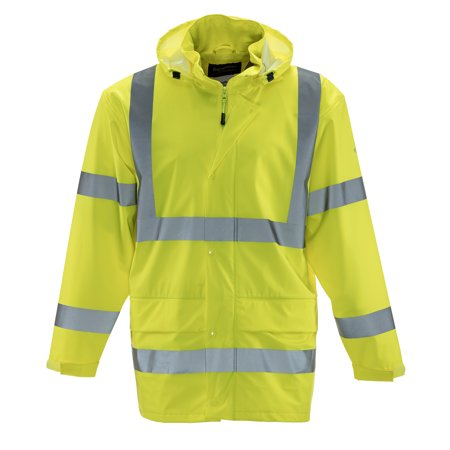skate shoes vast selection enjoy best price RefrigiWear Men's HiVis Lightweight RainWear Rain Jacket - ANSI Class 3  High Visibility Lime with Reflective Tape