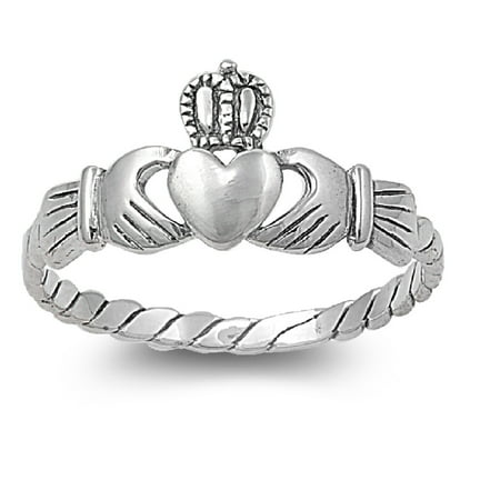 - 925 Sterling Silver Friendship and Togetherness Claddagh Ring Size 10