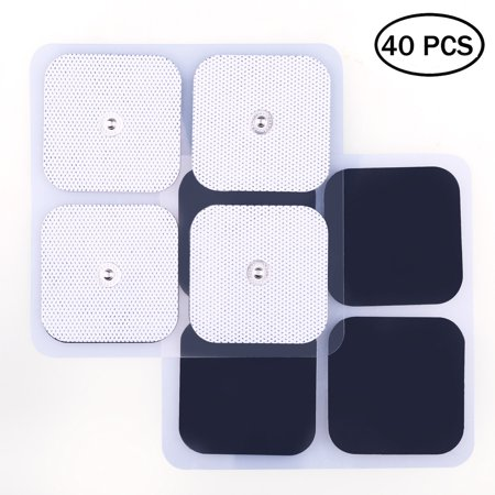 Snap Electrode Pads - 40 PCS Reusable Square TENS Unit Replacement Pads with Premium Adhesive Gel for EMS & Muscle Stimulators, Comfortable Soft Foam Backing - Foam Stress Electrodes