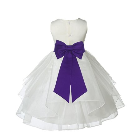 Ekidsbridal Ivory Cadbury Shimmering Organza Christmas Bridesmaid Recital Easter Holiday Wedding Pageant Communion Princess Birthday Clothing Baptism 4613T size 12-18 month Flower Girl Dress - Halloween Cadbury