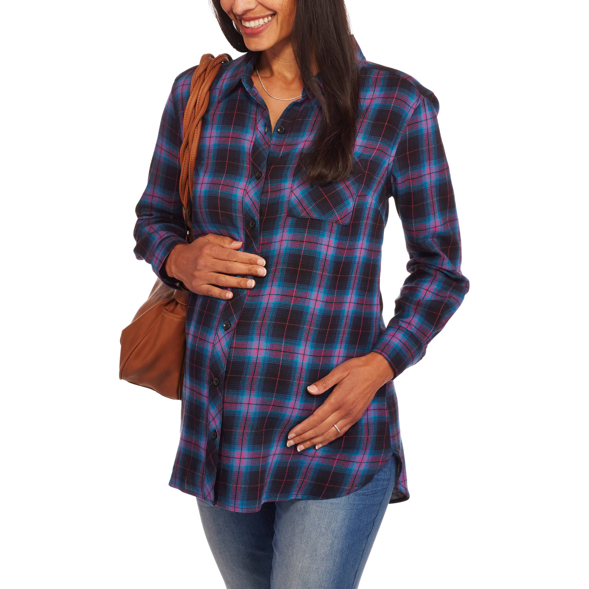 Faded Glory Maternity One Pocket Plaid Button Up Tunic Shirt