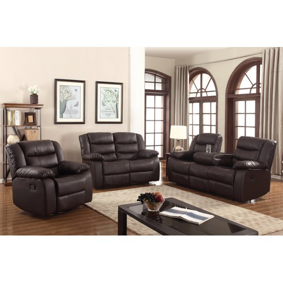 Layla 3 Pc Dark Brown Faux Leather Living Room Reclining