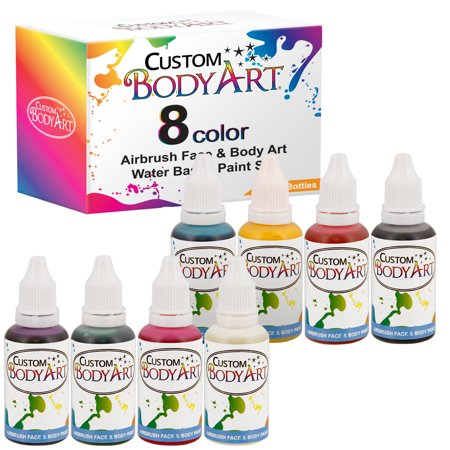 8 Color 1oz Airbrush Face & Body Art Paint Kit Water-Based Custom Temp Tattoo