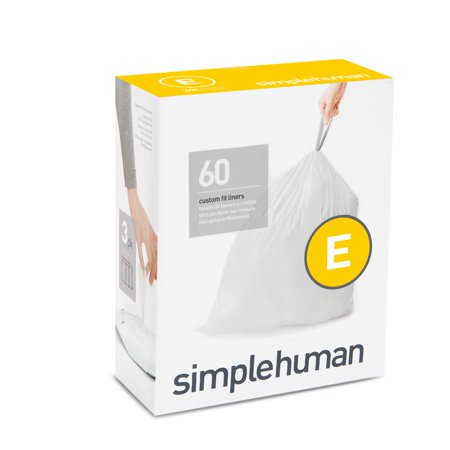 simplehuman Code E Custom Fit Liners, 20 Liter / 5.2 Gallon, 60 Count Simple Human Liners