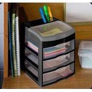 1 Sterilite 20639004 3 Slide Out Drawer Table Desktop Storage Unit Clear Black Image
