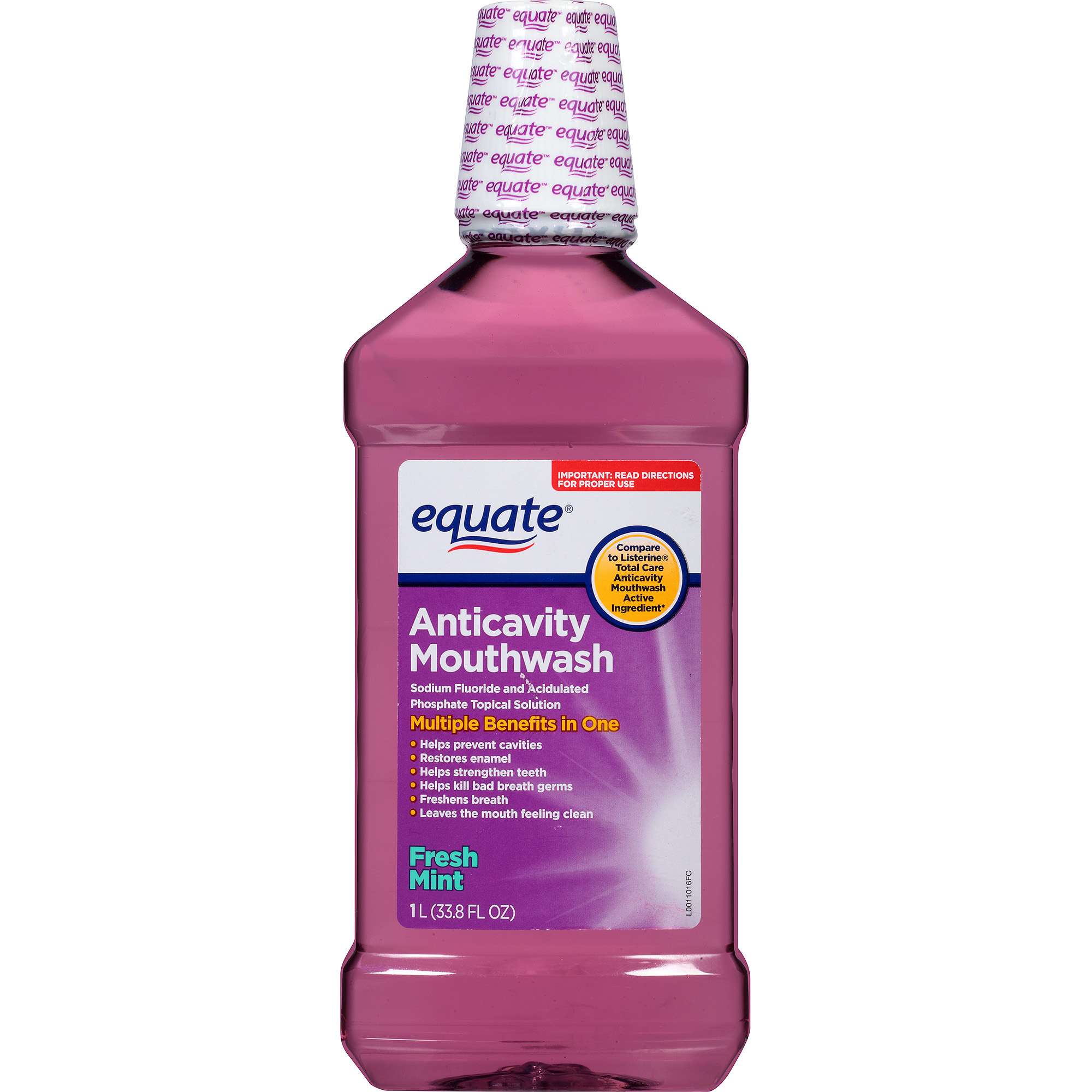 Equate Fresh Mint Anticavity Mouthwash, 33.8 fl oz
