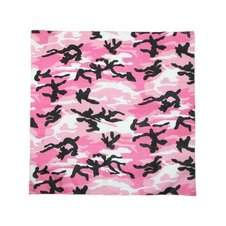 CTM®  Womens Cotton Pink Camouflage Bandana, Pink