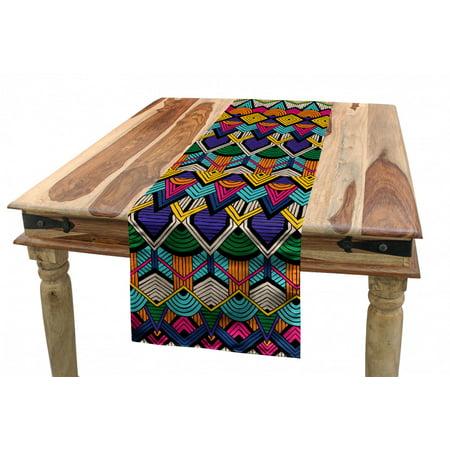 Geometric Table Runner, Retro Eighties Design Vibrant Color Scheme Geometrical Lines Half Circles Vintage, Dining Room Kitchen Rectangular Runner, 3 Sizes, by Ambesonne Genuine Vintage Retro Circle