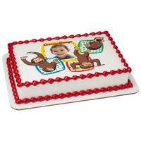 7.5 Round Curious George Monkeying Around Edible Cake Image Frame