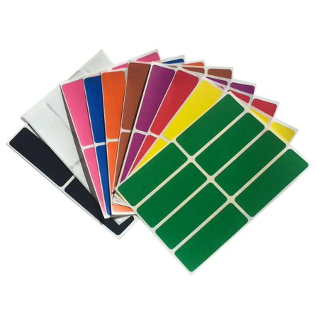 Rectangle Name Tags - Colored labels stickers rectangle label in 10  assorted colors name tags  3 x  1 inch - 80 pack by Royal Green