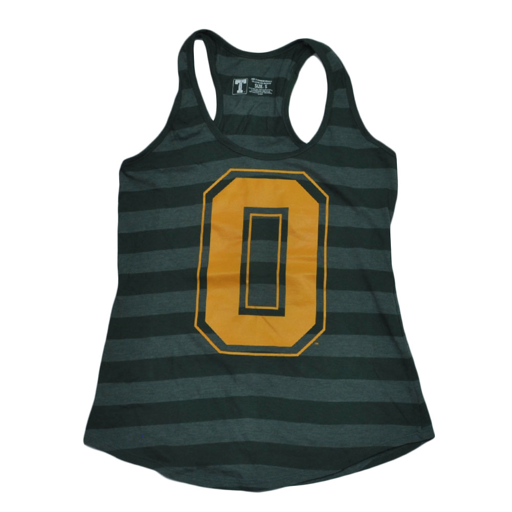 NCAA Oregon Ducks Striped Racerback Tank Top Green Shirt Womens Ladies 2XLarge