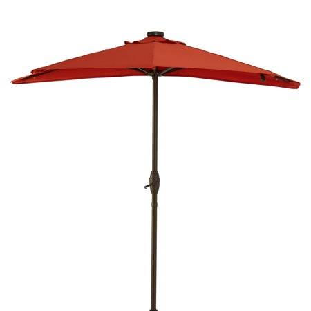 Better Homes & Gardens 7' Red Half-Round Patio Umbrella with Solar Lights
