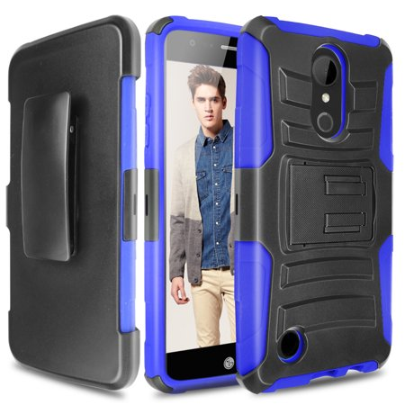 LG K20 Plus Case, LG K20 V Case, LG Harmony Case, TJS Dual Layer Hybrid Shock Absorbing Impact Resist Kickstand Armor Case with Belt Clip Holster For LG K20 Plus/K10 (2017)/M250