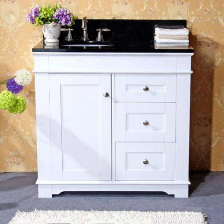 White natural granite top 36 inch single sink bathroom - Bathroom vanity black marble top ...