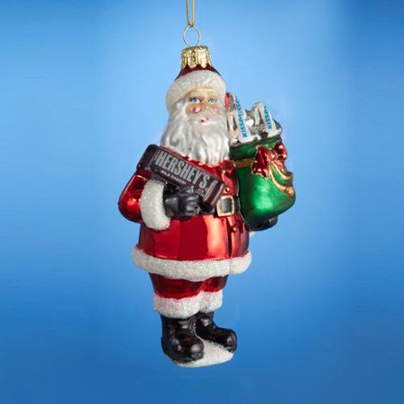 Pack of 6 Santa Claus with a Hershey's Bar and Hershey Kisses Glass Christmas  Ornaments 5 - Pack Of 6 Santa Claus With A Hershey's Bar And Hershey Kisses Glass