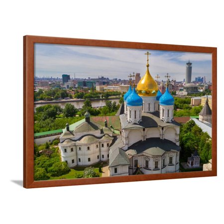 Russia, Moscow, May 2013 - View of Moscow from the Bell Tower of the Novospassky Monastery. Moscow Framed Print Wall Art By viktoriagam