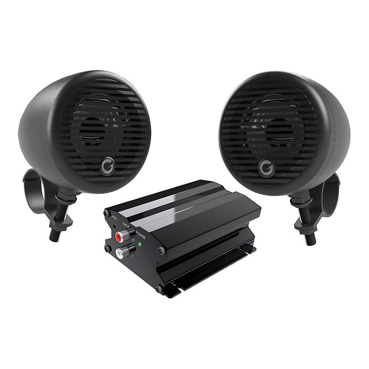 "Planet Motorcycle/ATV Sound System with Bluetooth 1 pair of 3"" Weather Proof Black Speakers Amp"