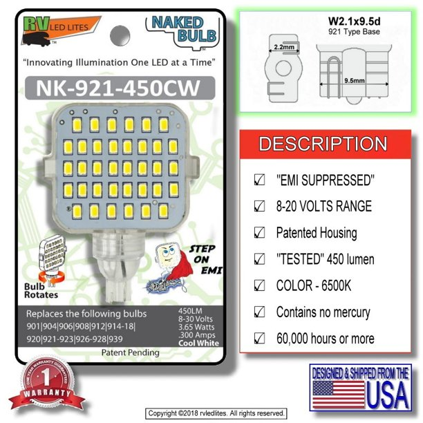 NK-1141-450CW, (NAKED BULB) LED Replacement EMI Suppressed