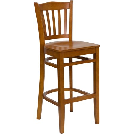 Cherry Collection Slat (Flash Furniture HERCULES Series Cherry Finished Vertical Slat Back Wooden Restaurant Barstool Set Of 2 )