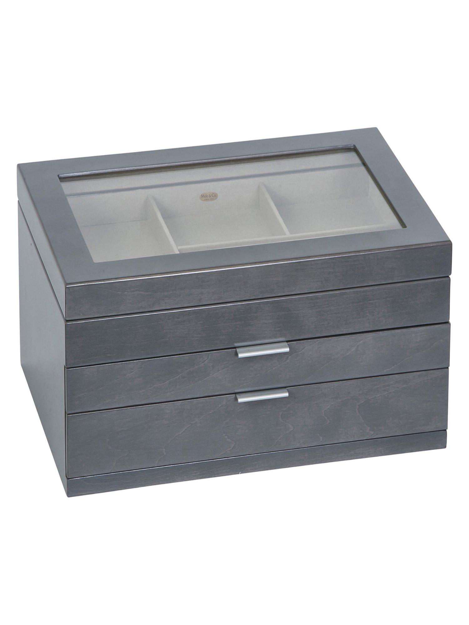 Misty Glass Top Wooden Jewelry Box - 15L x 10W in.