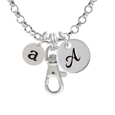 Disc 1/2'' Initial - a - A - Initial Badge Clip Necklace