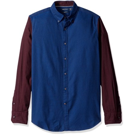 Nautica NEW Blue Red Mens Size XL Colorblock Collar Button Down Shirt