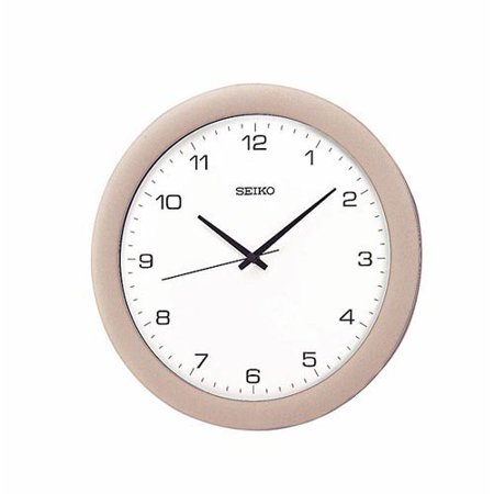 Seiko Silver; White Wall Clock
