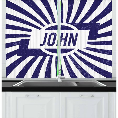 John Curtains 2 Panels Set, Common Masculine Given Name Design on Wavy Stripes with a Weathered Look, Window Drapes for Living Room Bedroom, 55W X 39L Inches, Navy Blue and White, by Ambesonne John Deere Curtain