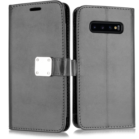 "for 6.4"" Samsung Galaxy S10 Plus Magnetic Back Plate Deluxe PU Leather Hybrid Pouch Pocket ID and Credit Card Slots Shockproof Flip Bumper Protective Wallet Purse Phone Case [Black]"