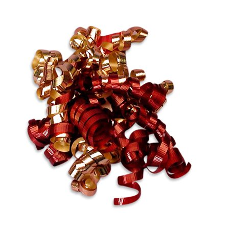 Cranberry Red and Gold Decorative 5 inch Crimped Curly Ribbon Gift Bows, 24 pack - Curly Ribbon