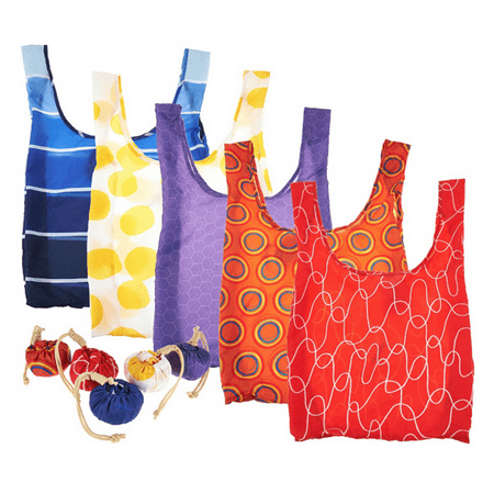 Kikkerland Set of 5 Reusable Shopping Bags with Pouches