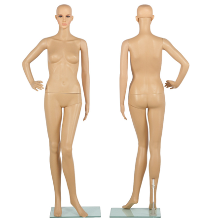- Full Body Female Mannequin w/ Base Plastic Realistic Display Head Turns Dress