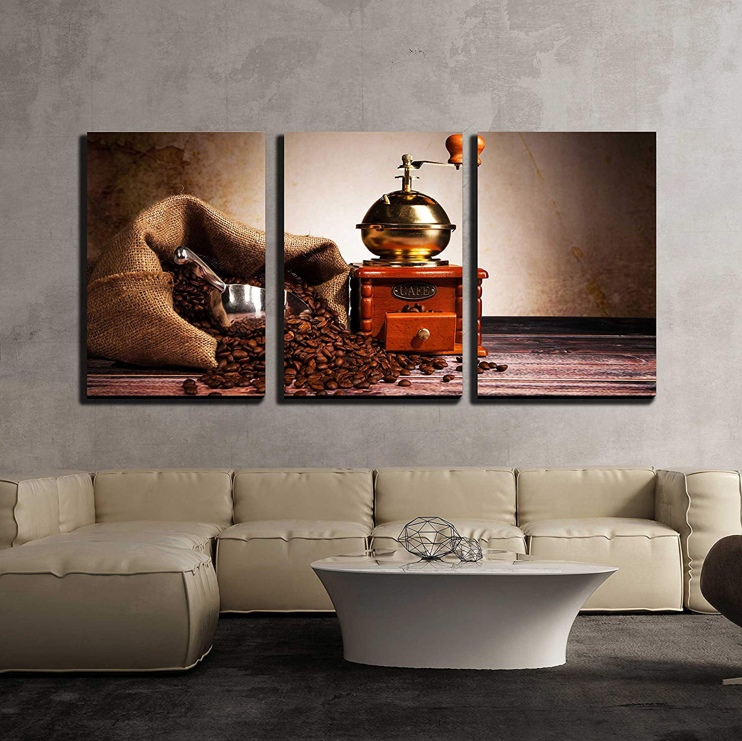 Wall26 3 Piece Canvas Wall Art Coffee Still Life With Wooden Grinder Modern Home Decor Stretched And Framed Ready To Hang 16 X24 X3 Panels
