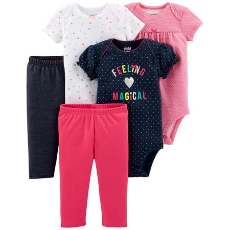 - Child Of Mine By Carter's Short Sleeve Bodysuits & Pants Baby Shower Gift Set, 5pc (Baby Girls)