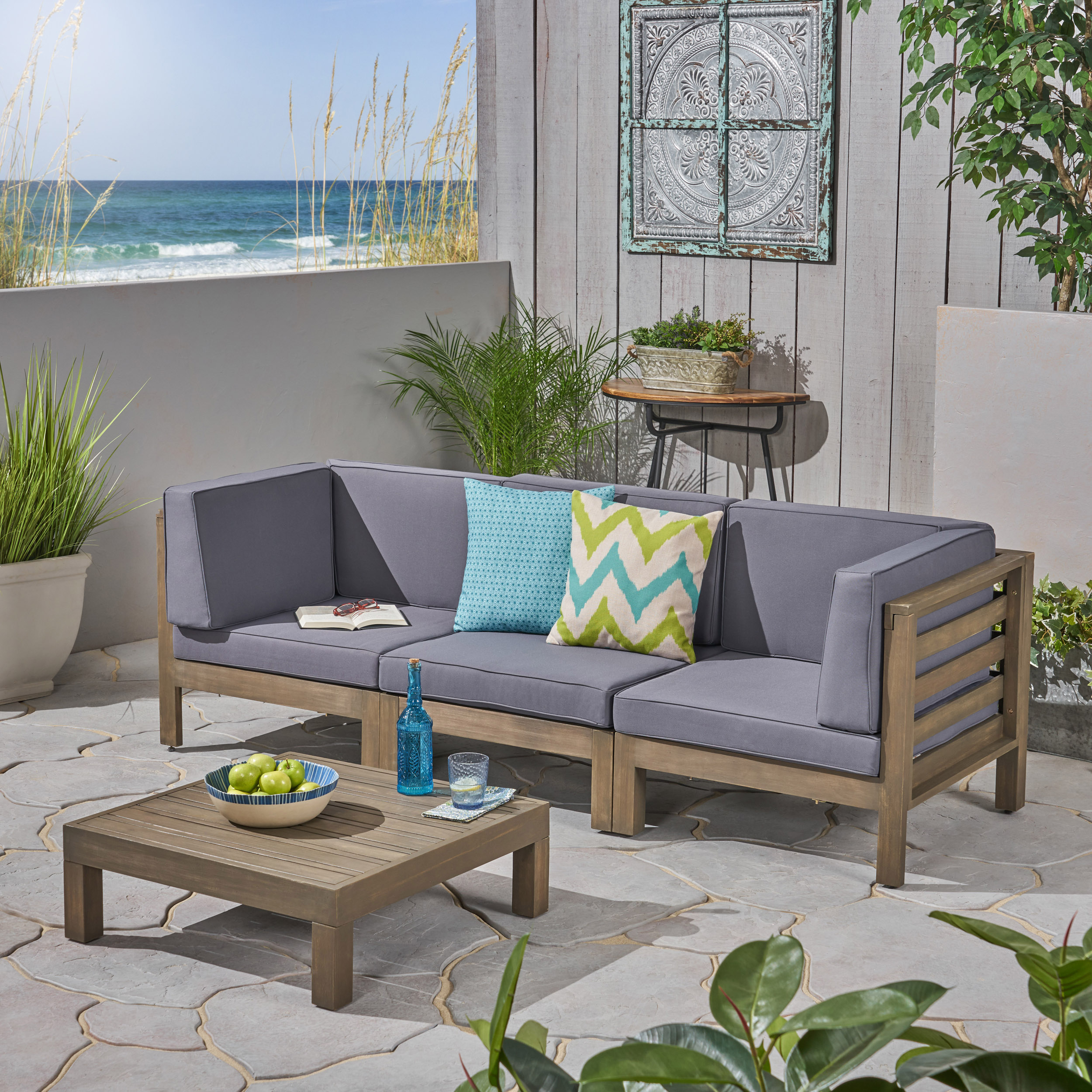 Frankie Outdoor Acacia Wood Sectional Sofa and Coffee Table Set with Cushions, Gray, Dark Gray