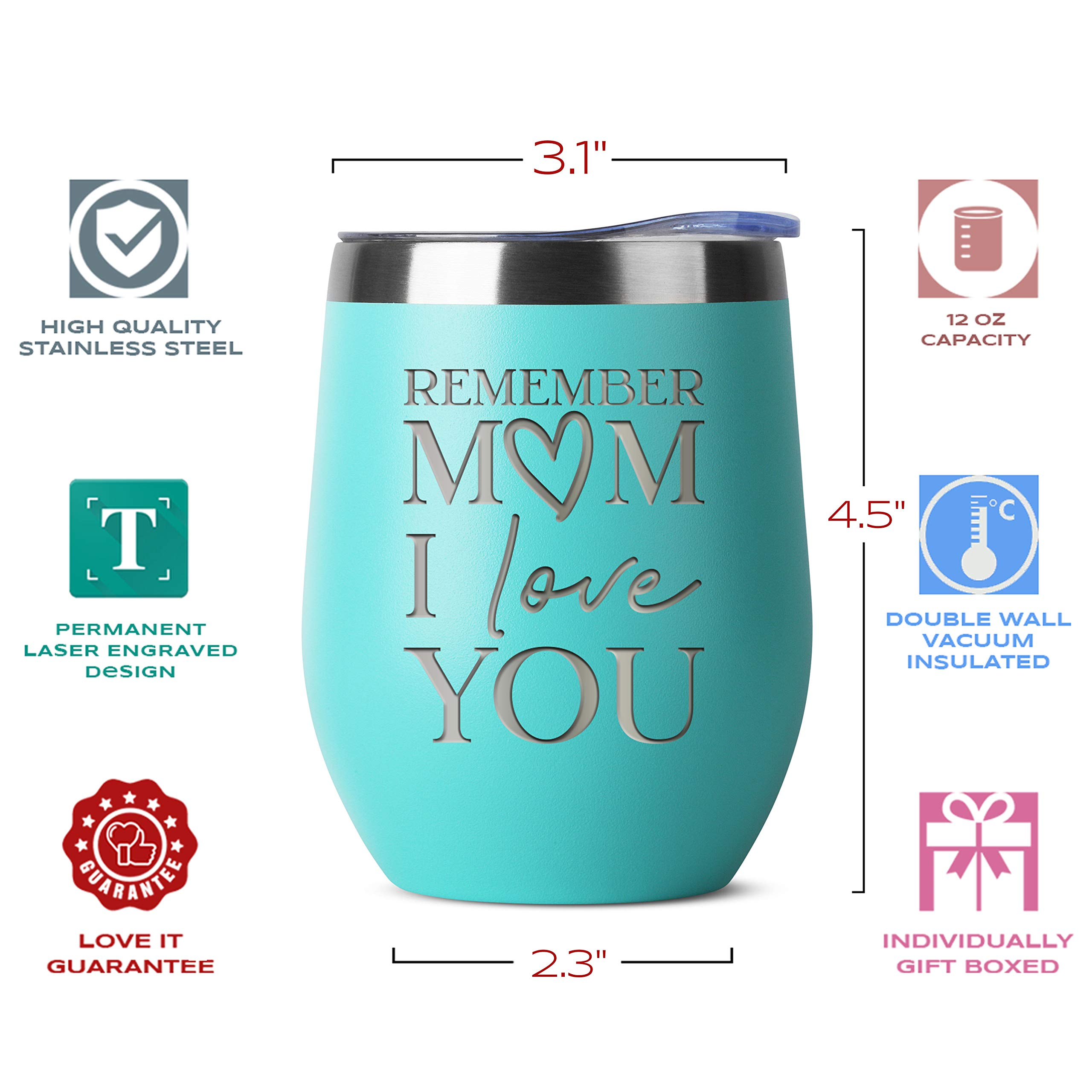 16 oz Mint Insulated Stainless Steel Tumbler w//Lid Mug for Women Remember Mom I Love You Moms Mother Gifts Idea from Kids Children Birthday Mothers Day Christmas Gift Ideas from Daughter Son