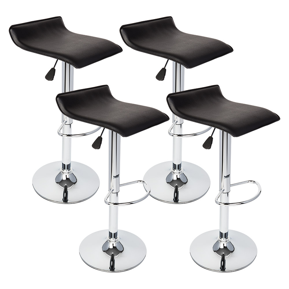 4 Pcs Of Black Modern Adjustable Hydraulic Bar Stool Swivel Pub Chair Barstools