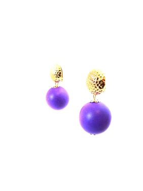 Product Image Clip On Color Ball Wood Drop Purple Earrings 1 5 Inch Fashion Jewelry