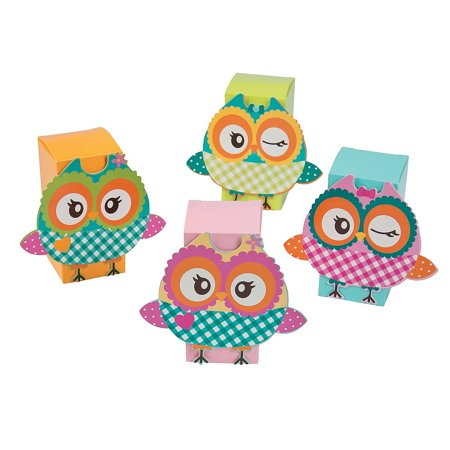 Fun Express - Owl Party Treat Boxes for Birthday - Party Supplies - Containers & Boxes - Paper Boxes - Birthday - 12 Pieces - Owl Birthday Party Supplies
