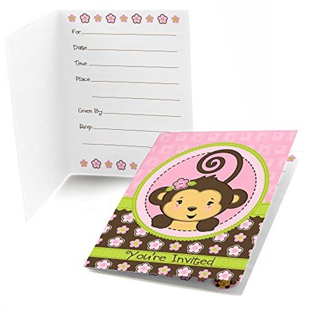 Monkey Girl - Fill In Baby Shower or Birthday Party Invitations - Set of 24