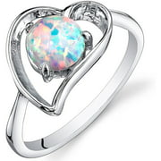 0.75 ct Round Created White Opal Ring in Sterling Silver