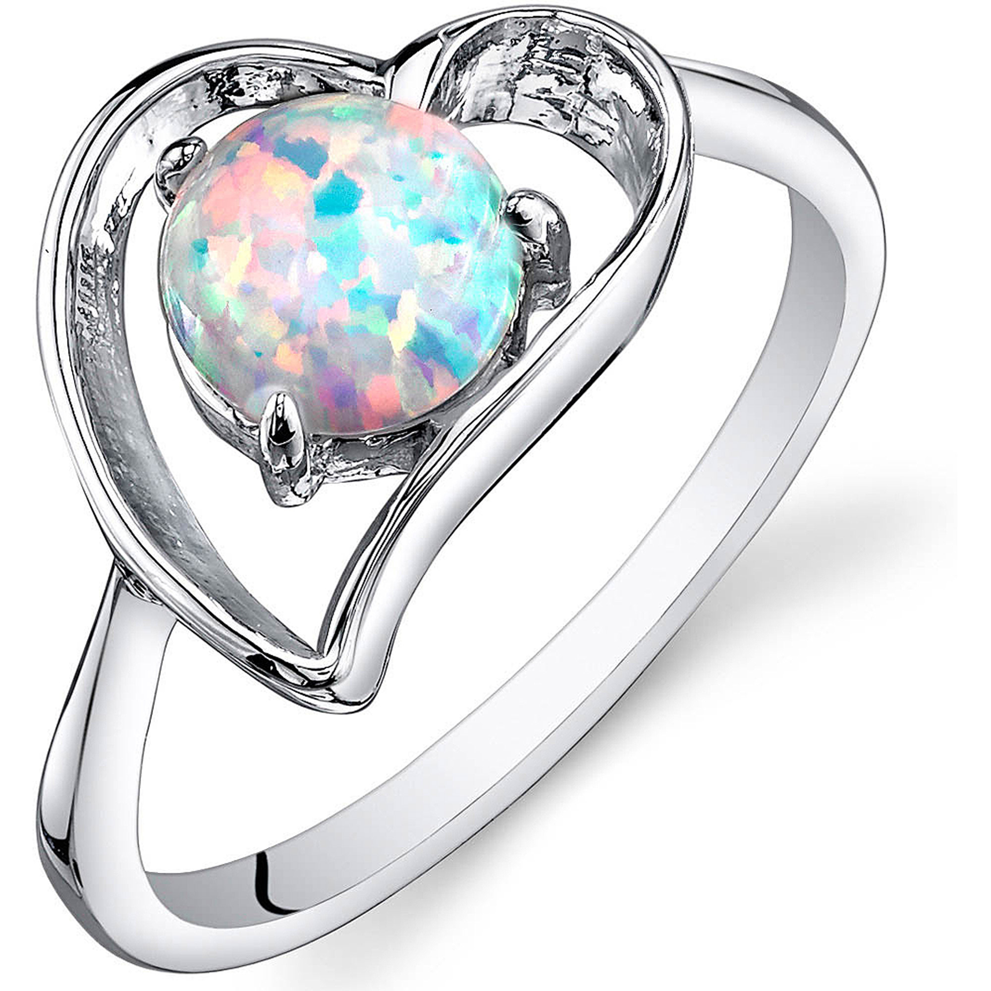 Oravo 0.75 Carat T.G.W. Heart-Shape Created Opal Rhodium over Sterling Silver Ring