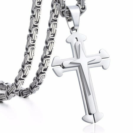 Hermah Stainless Steel Cross Pendant Necklace Mens Boys Chain 5mm Byzantine Chain 22-30inch